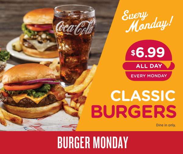 Glory Days Grill promotional banner for Burger Monday