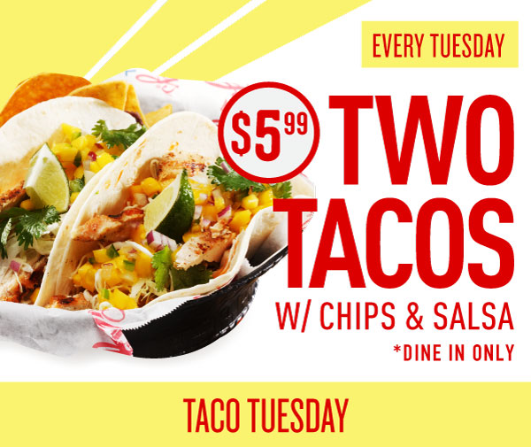 Glory Days Grill promotional banner for Taco Tuesday